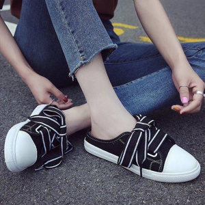 Bow Laced Flat Open Sneakers - Black