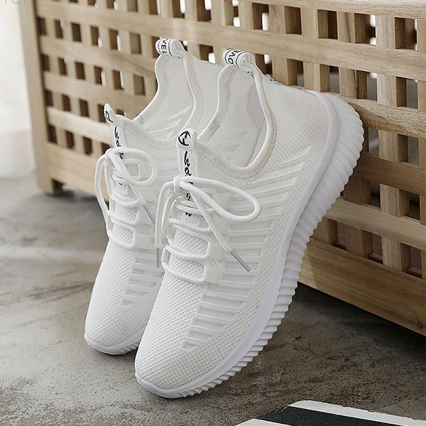 Stripes Lace Closure Soft Bottom Sneakers - White