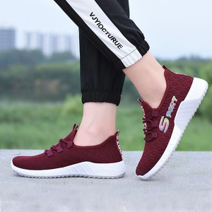 Flying Woven Straps Breathable Flat Women Sneakers - Red