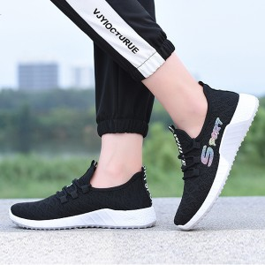 Flying Woven Straps Breathable Flat Women Sneakers - Black
