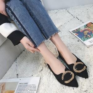 Designers Sparkling Pointed Flat Black Sandals