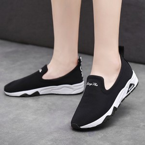 Mesh Flat Bottom Canvas Sneakers - Black