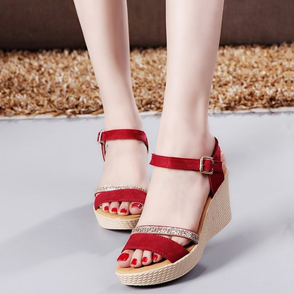 Thick Bottom Open Toe Shiny Burgundy Sandals