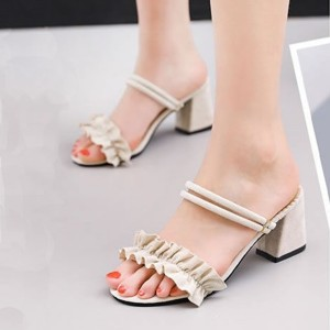 High Heels Buckle Closure Party Wear Women Sandals - Beige