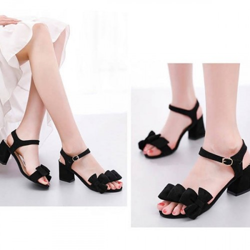 Thick Bottom Bow Patched Buckle Sandals - Black