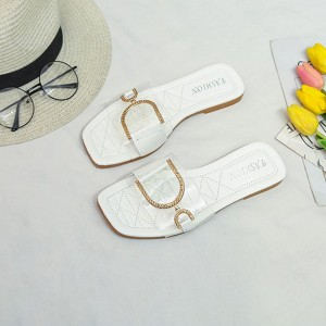 Crystal Decorative Buckle Transparent Flat Slippers - White
