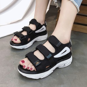 Black Strappy Thick Bottom Casual Sandals
