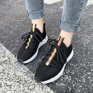 Laced Flat Wear Sports Canvas Sneakers - Black