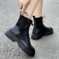 Flat Thick Bottom Pu Leather Short Women Boots - Black