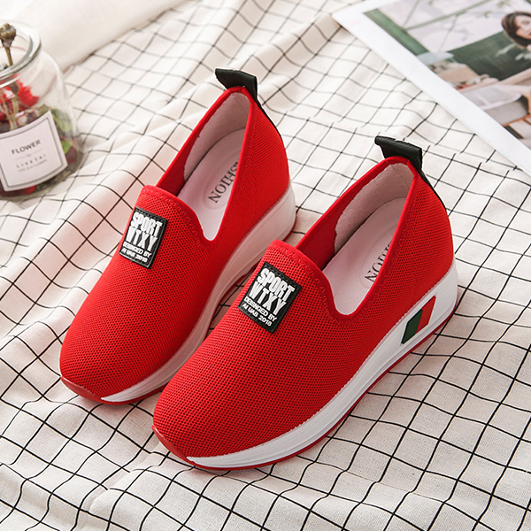 Mesh Thick Bottom Canvas Sneakers - Red