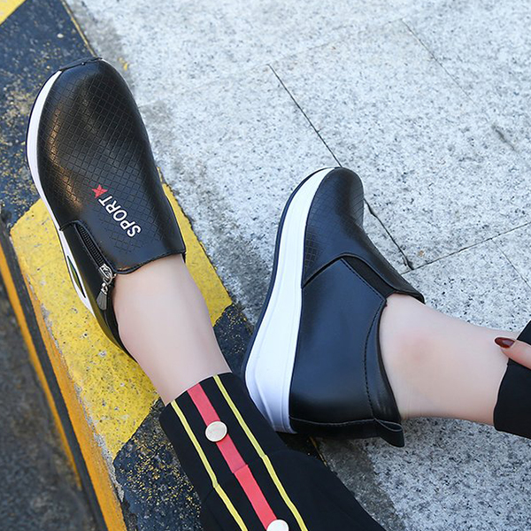 Check Texture Zipper Casual Sports Sneakers - Black