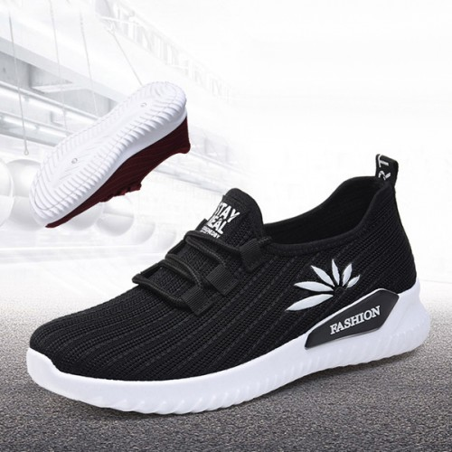 Light Weight Breathable Mesh Running Gym Sneakers - Black