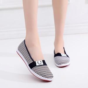 Casual Wear Flat Canvas Women Shoes - Black