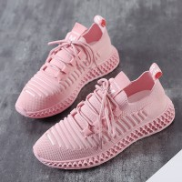 Canvas Laced Up Rubber Sole Casual Sneakers - Pink