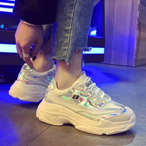 Trendy Unicorn Holographic Sports Wear Sneakers - White