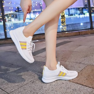 Breathable Laced Up Sports Wear Gym Sneakers - White