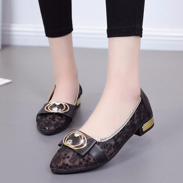 Breathable Hollow Transparent Mesh Beans Shoes - Black
