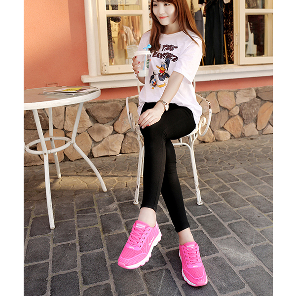 Light Mesh Plate Shoes Breathable Sports Fashion Hot Pink