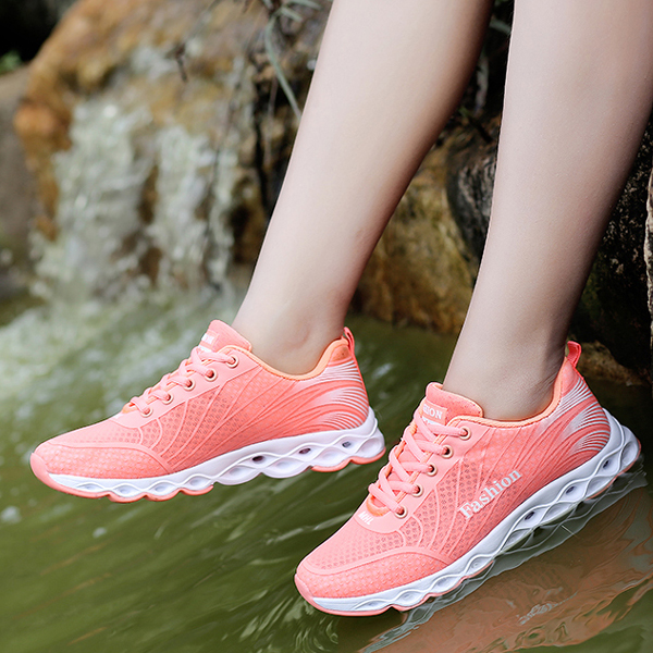 Light Mesh Plate Shoes Breathable Sports Fashion Orange