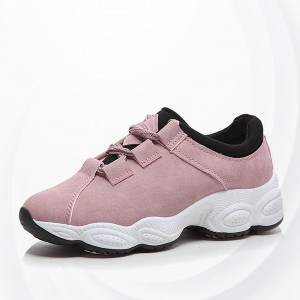 Synthetic Leather Thick Lace Closure Casual Sneakers - Pink