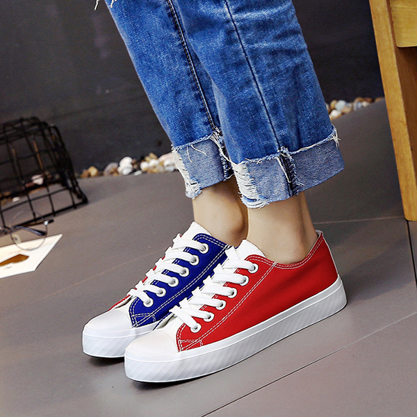 Red And Blue Sports Flat Lace Shoes