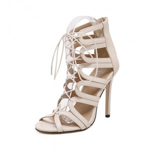 Killer Heels Sexy Strappy Sandals Peep Toe Shoes White