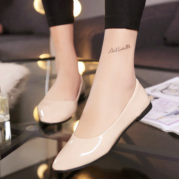 Shiny Flat Pointed Party Wear Shoes - Beige