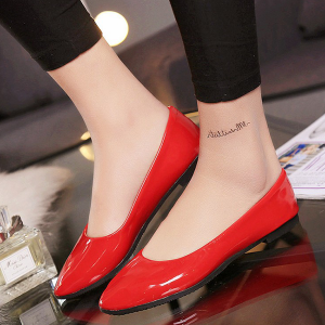 Shiny Flat Pointed Party Wear Shoes - Red