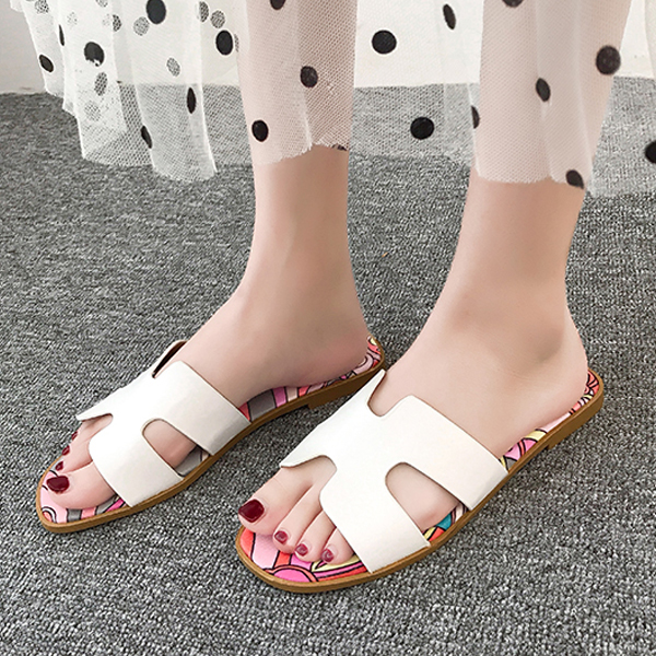 Fancy Prints Cut Out Casual Flat Slippers - White