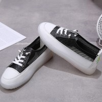 Synthetic Leather Flat Wear Summer Sneakers - Black