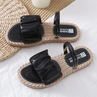 Plastic Sole Flat Bohemian Elegant Women Slippers Sandals - Black