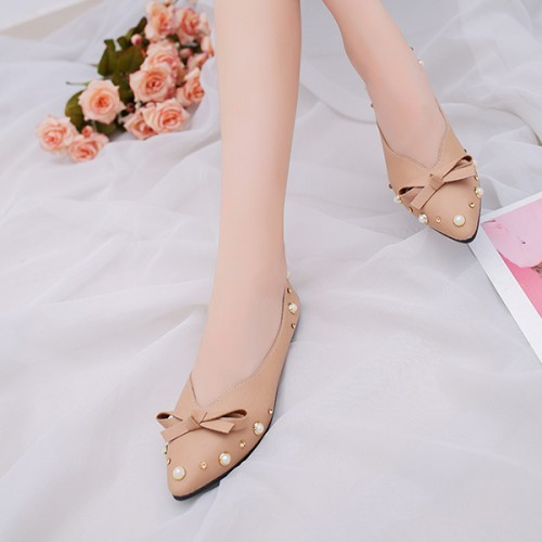 Bow Pointed Party Wear Flat Female Shoes - Brown