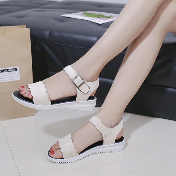 Suede Buckle Flat Wear Casual Sandals - Cream White