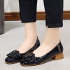 PU Leather Cross Buckle Medium Heel Shoes - Black