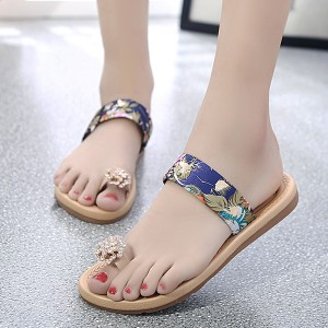 Crystal Patched Flat Wear Party Sandals