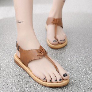 Flat Buckle Closure Casual Sandals For Women - Brown