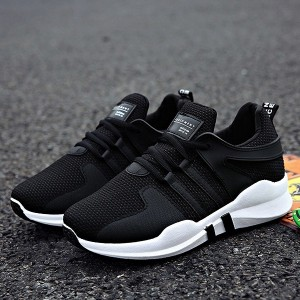 Laced Canvas Soft Bottom Sports Running Shoes - Black