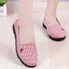 Mini Checks Printed Fabric Flat Shoes - Red