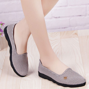 Mini Checks Printed Fabric Flat Shoes - Coffee