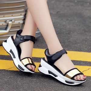 Casual Travel Rocking Golden Sandals Soft Thick Bottom