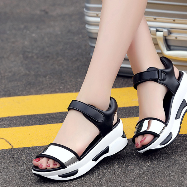 Casual Travel Rocking Silver Sandals Soft Thick Bottom