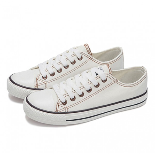 Unisex Male Female College Students Canvas Summer Shoes White