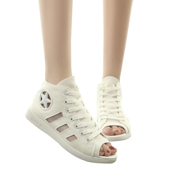 Summer Hollow Fish Canvas Sandals Casual Fashion White