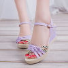 Purple Strappy Texture Contrast Sandals