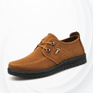 Suede Comfortable Casual Men Canvas Shoes - Brown