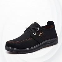 Suede Comfortable Casual Men Canvas Shoes - Black