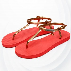 Flat Flip Flops Casual Wear Sandals - Red
