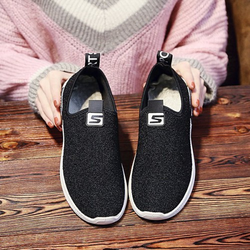 Breathable Canvas Flat Sole Summer Shoes - Black