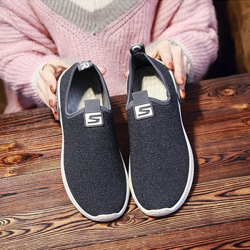 Breathable Canvas Flat Sole Summer Shoes -Dark Grey