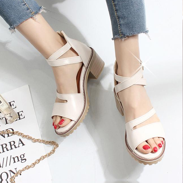 Summer Midi Heel White Formal Sandals